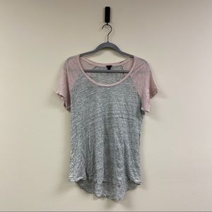 JCrew women's linen baseball t-shirt size L